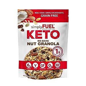 simplyFUEL KETO Granola | Low Carb Keto Cereal | 1 g Net Carbs | No SUGAR | Gluten Free | Vegan | MCT Oil | Trail Mix | 11 oz