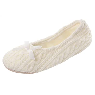 Ladies Cream Knitted Ballerina Ballet Slippers Soft Padded Lining Non-Slip Sole GC_8043