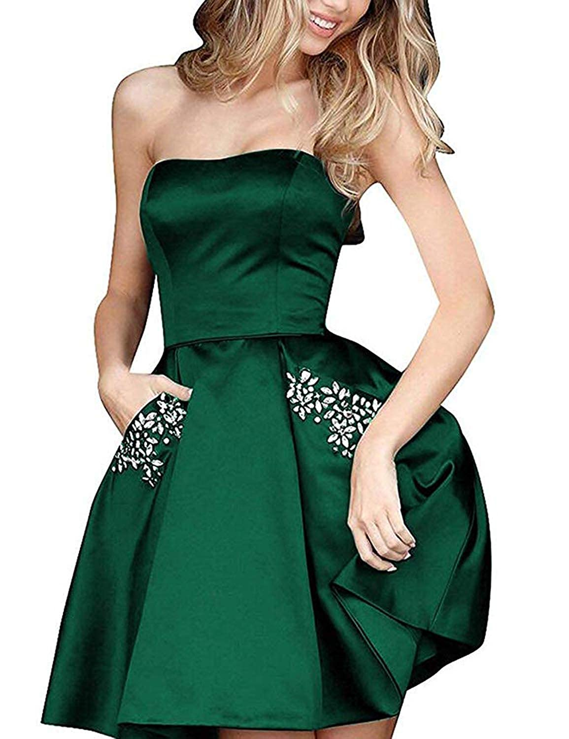 Dark Green TTYbridal Strapless Beaded Homecoming Dresses Short Satin Cocktail Prom Gown with Pockets HD3