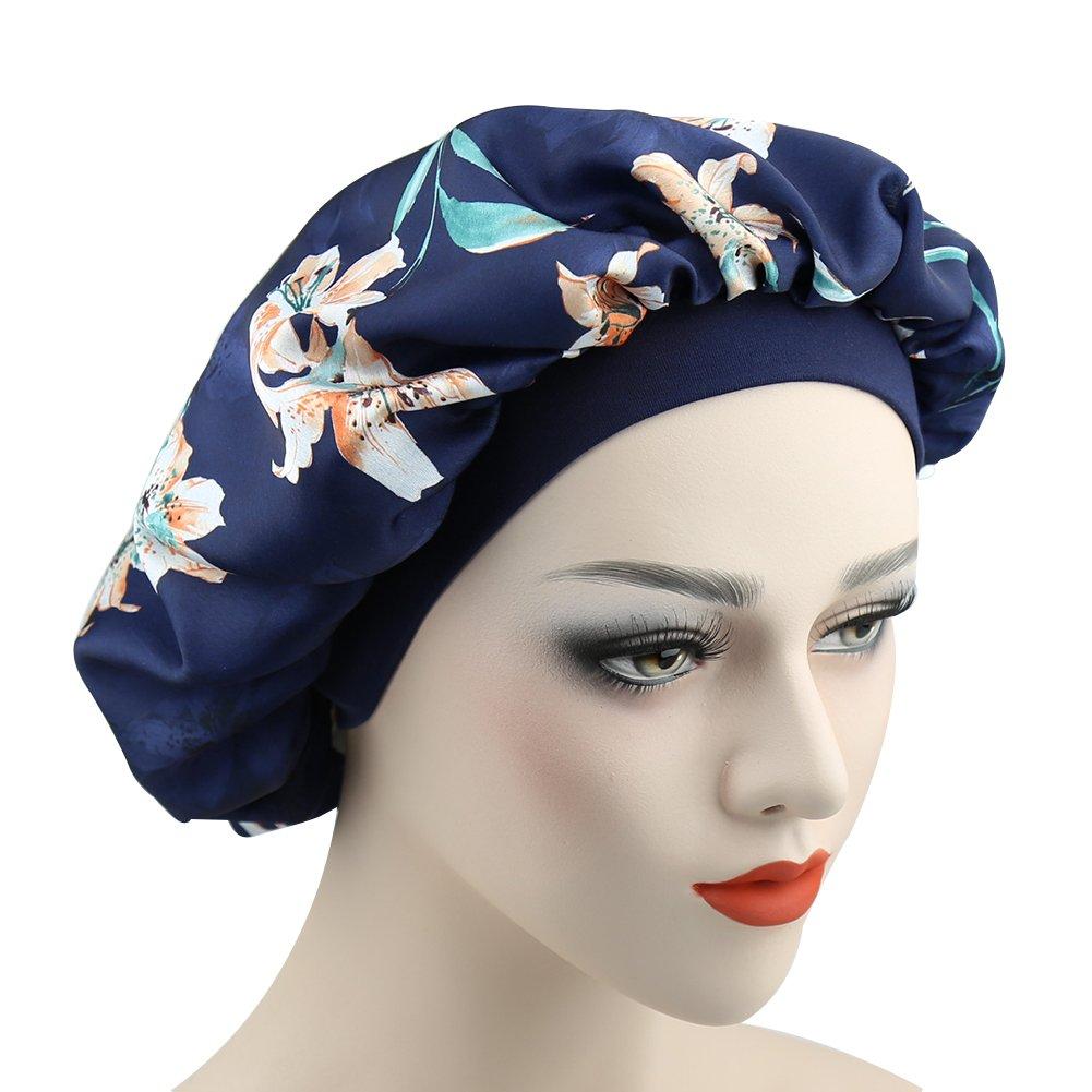 Breathable Head Wrap Silk Satin Night Cap for Short Hair Women's Tam Hat Beanie Cap