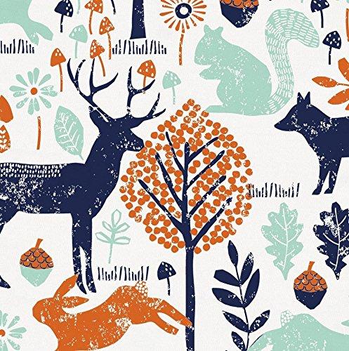 Carousel Designs Navy and Orange Woodland Animals Cradle Sheet