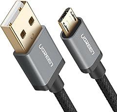 Cable USB Micro USB, UGREEN Micro USB Cable Nylon Trenzado Rápido Cargador 2 Metro para Samsung Galaxy S7 / S6 / S5 / EDGE, Xiaomi, Huawei, HTC, Elephone, Oneplus, Nota 5 / 4 / 3, LG, Nexus, Nokia, PS4,Tablets, E-lectores y etc. (2m, Negro)