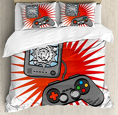 Boy's Room Queen Size Duvet Cover Set by Lunarable, Video Games Themed Design in Retro Style Gamepad Console Entertainment, Decorative 3 Piece Bedding Set with 2 Pillow Shams, Grey Orange White by Lunarable