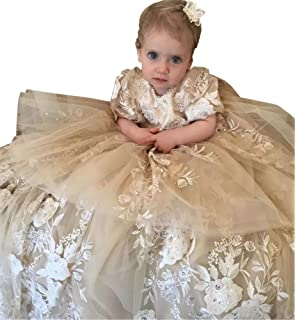 Michealboy Newborn Christening Dress O-Neck Baptism Solid Sleeveless Frock Infant Birthday Party