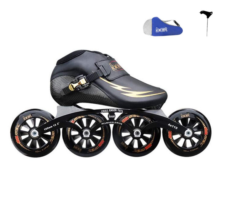 TTYY プロフェッショナル スピード インラインスケート カーボンファイバー 競技用スケート 4輪 ストリートレーシング スケート パティーン EU38