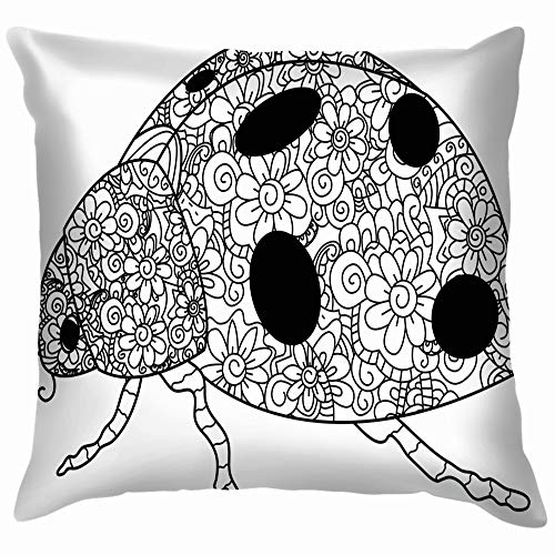 Coccinellidae Coloring Book Adults Mandala Animals Wildlife Cotton Throw Pillow Case Cushion Cover Home Office Decorative, Square 12X12 -