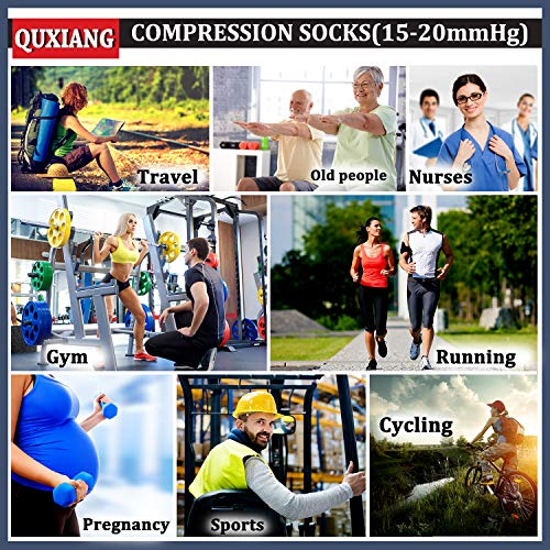 QUXIANG Copper Compression Socks for Men & Women - Best for Running, Athletic, Medical, Pregnancy and Travel - 15-20mmHg