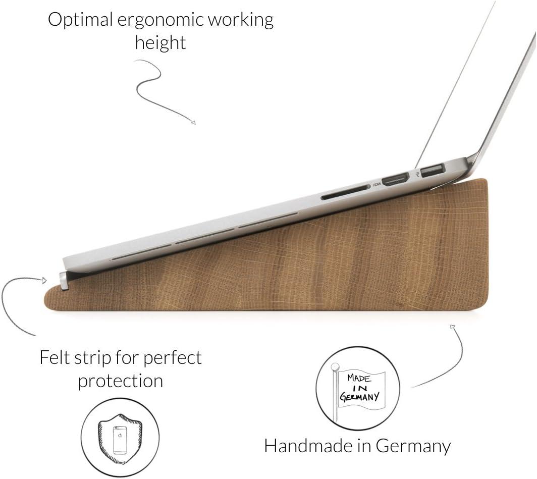 aus massivem Holz Woodcessories Eiche Notebook St/änder kompatibel mit Apple MacBooks
