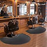 """Barber Shop Chair Mat 3′x5′ Anti-Fatigue Floor Mat Salon Mat - Black Semi Circle Salon Mat - 1/2"""" Thick Office Comfort…"""