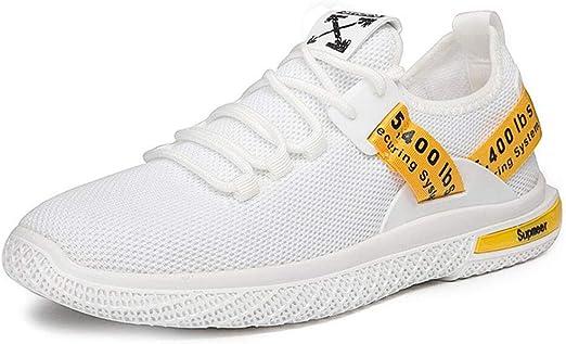 YAN Zapatos de Hombre Malla Trail Running Zapatillas de Deporte, Cordones Low-Top Sneakers Breathable Flats Ligeros Casual Loafers Mocasines (Color : Blanco, tamaño : 40): Amazon.es: Jardín