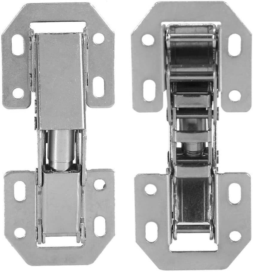 10PCS Cabinet Hinges 90 Degree 3 Inch Stainless Steel Soft Closing Door Hinge No-Drilling Hole Cabinet Hinge Bridge Shaped Spring Full Overlay Cupboard Hinges with Screws