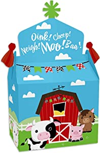 Big Dot of Happiness Farm Animals - Treat Box Party Favors - Barnyard Baby Shower or Birthday Party Goodie Gable Boxes - Set of 12