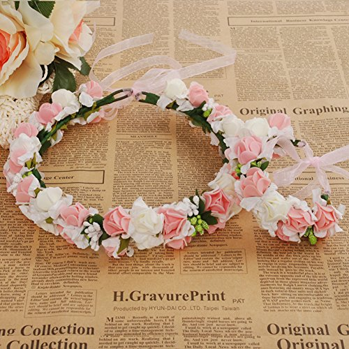 Meiliy Bridal Flower Garland Crown Flower Headband Hair Wreath Halo with Flower Wrist Corsage for Wedding Festivals (Bridal Headpiece Flower Girl Wreath)