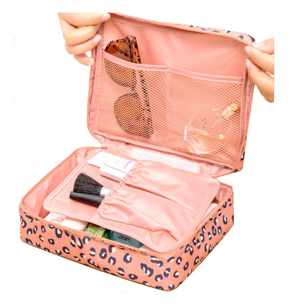 Ac.y.c Printed Multifunction Portable Travel Makeup Cosmetic Bags Organizer for Women Girl Travel (Pink Leopard Print) by Ac.y.c