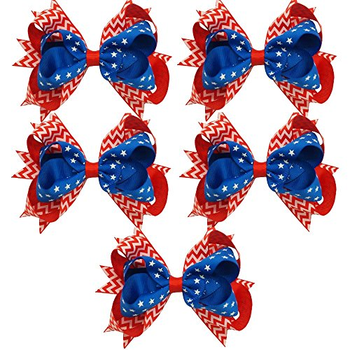CN 5pcs 4th of July Hair Bows 5 Inch Boutique Baby Patriotic Hair Barrettes School Girls Hair Bows Pack of 5 (4th Of July Hair Accessories)
