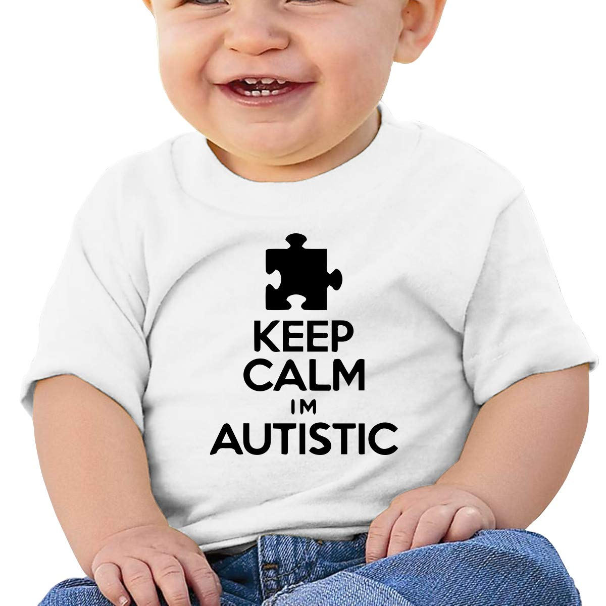 Keep Calm Im Autistic-1 Baby Boys Girls Short Sleeve Crew Neck T Shirts 6-18 Month Tops