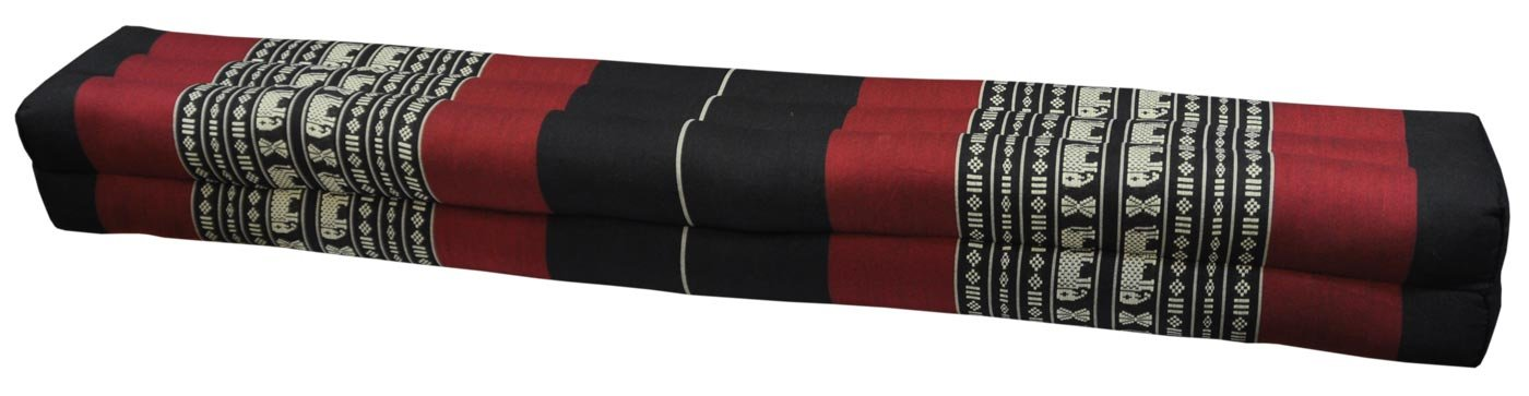 Thai cushion bolster , pillow, sofa, imported from Thaïland, black/red, relaxation, beach, pool, meditation garden (81611) by Wilai GmbH
