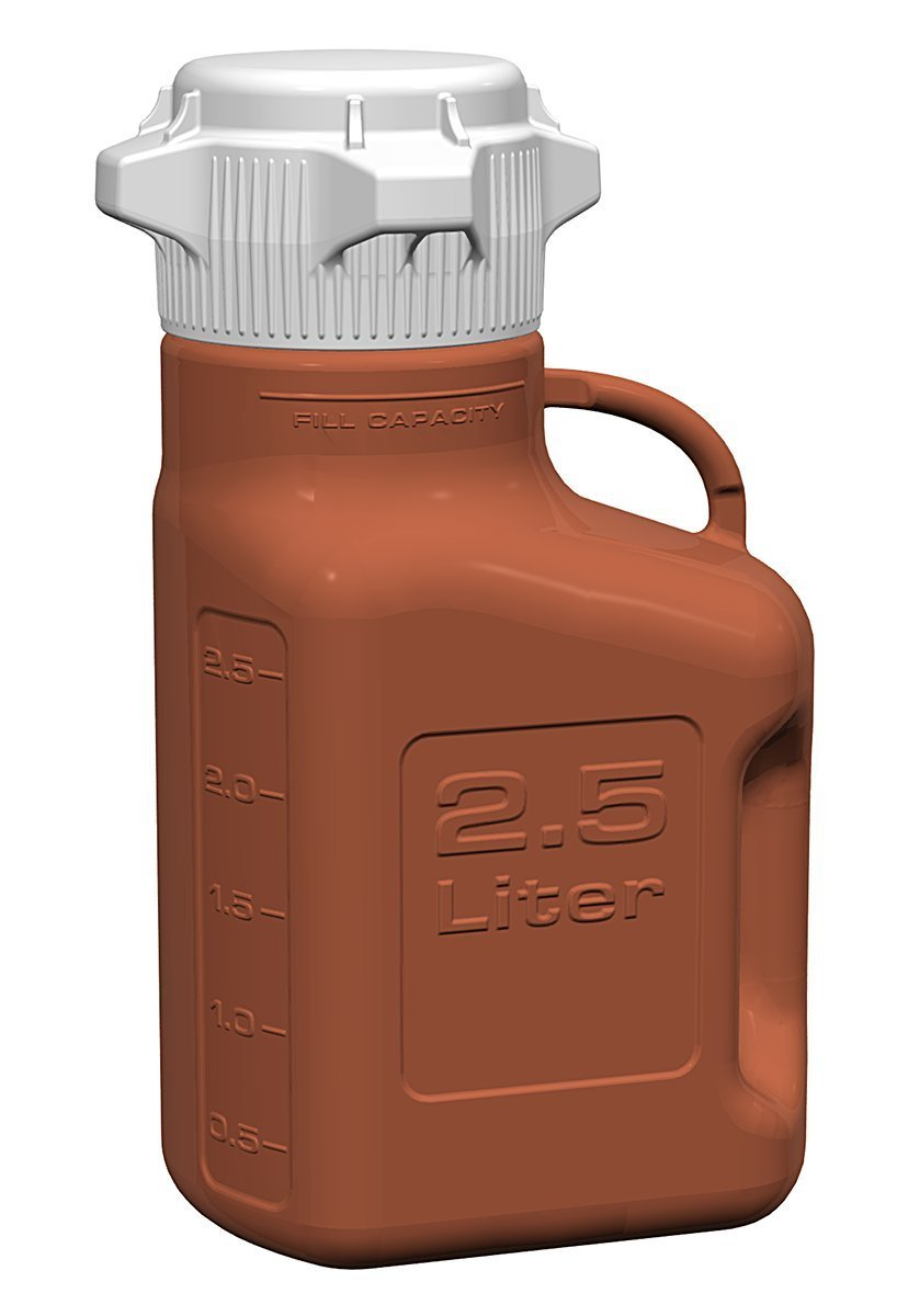 EZgrip 2.5L (0.5 Gal) Light Blocking Amber HDPE Space Saving Carboy with 83mm (83B) VersaCap and 3.25L Max Capacity