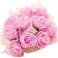 100x Fiorellini Rose finti, rose artificiale,Foam PE Con Organza Neve Bomboniera Fai Da te decorazione