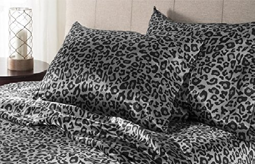 3pc Snow Leopard Theme Sheets Twin Set, Luxury Black Light Brown Spots Pattern, Master Bedroom, Abstract Snow Animal, Solid Color, Wild Animal Contemporary