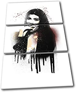 Bold Bloc Design - Kylie Jenner Grunge Iconic Celebrities 150x100cm TREBLE Canvas Art Print Box Framed Picture Wall Hanging - Hand Made In The UK - Framed And Ready To Hang