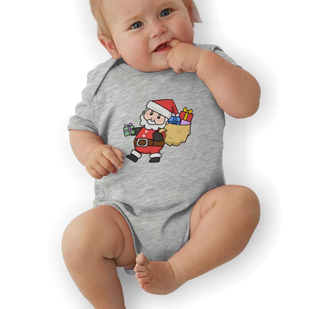 Infant Baby Boys Bodysuit Short-Sleeve Onesie Santa Claus Walking Print Jumpsuit Winter Pajamas