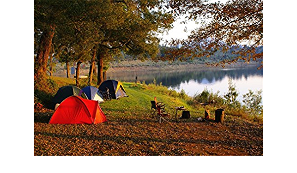 15x10ft Lakeside Travel Photo Backdrop Vinyl Outdoor Trip Excursion Camping Camp Tents Photography Background Cloth Kids Children Adutls Family Photo Studio Props