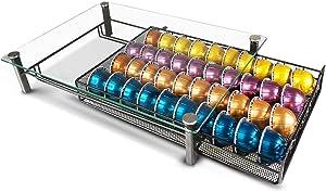 RECAPS Coffee Pod Kitchen Organizer Storage Holder Drawer Compatible with Vertuoline and VertuolinePlus Machines Tempered Glass Drawer Stores 40 Coffee Pods(Coffee Pods NOT Included)
