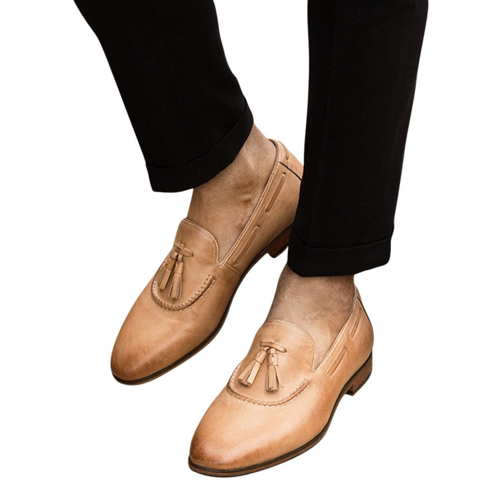 Tortor 1Bacha Unisex Adult Leather Tassel Fringe Slip-On Loafer Shoes