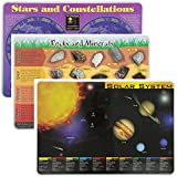 Painless Learning Educational Placemats Sets Solar System, Stars and Constellations, Rocks and Minerals, Placemat Non Slip Washable