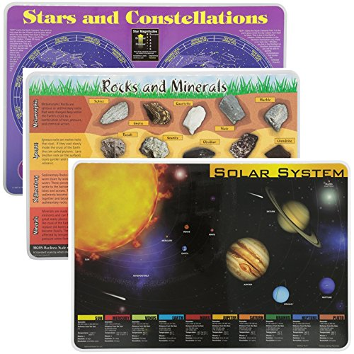 Painless Learning Educational Placemats Sets Solar System, Stars and Constellations, Rocks and Minerals, Placemat Non Slip Washable (System Rock)