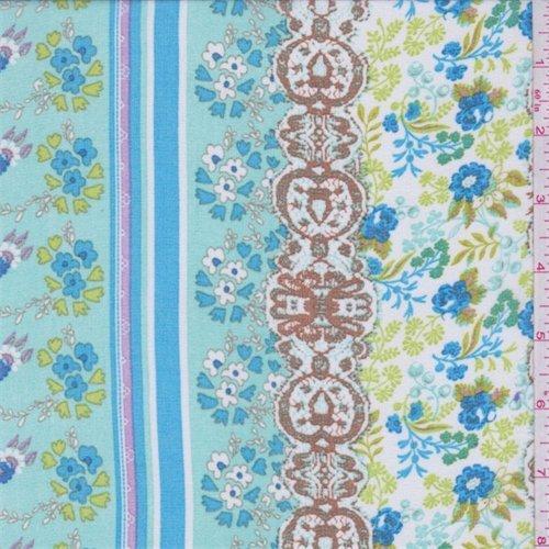 Seafoam Blue Multi Floral Stripe Chiffon, Fabric By the Yard