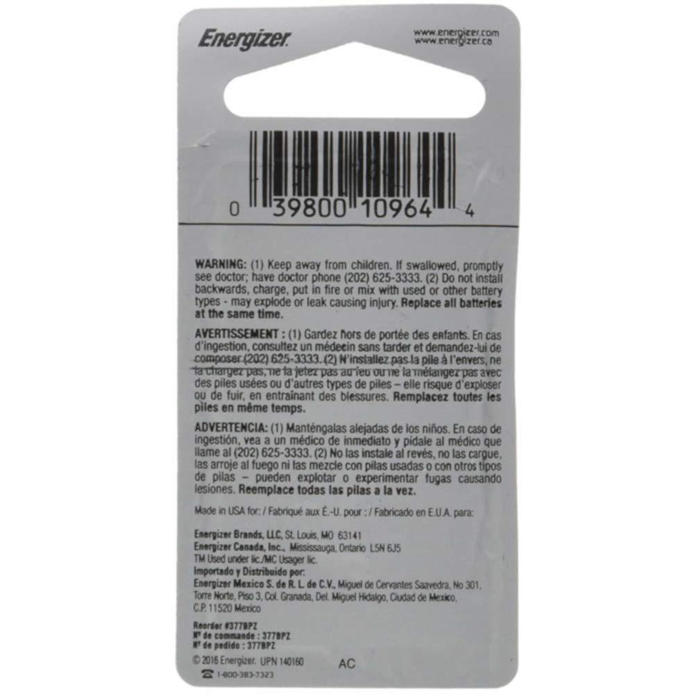 Amazon.com: Energizer 1.55 Vcc 377 Silver Oxide Battery: Health & Personal Care