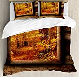 Ambesonne Fall Duvet Cover Set King Size, Fall Foliage View from Square Shaped Wooden Window inside Cottage Rustic Life Photo, Decorative 3 Piece Bedding Set with 2 Pillow Shams, Orange Brown