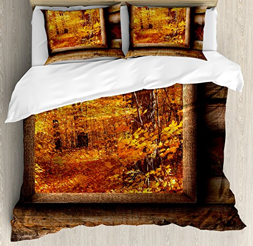 Ambesonne Fall Duvet Cover Set King Size, Fall Foliage View from Square Shaped Wooden Window inside Cottage Rustic Life Photo, Decorative 3 Piece Bedding Set with 2 Pillow Shams, Orange Brown by Ambesonne (Image #2)
