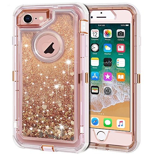 iPhone 8 Case, iPhone 7 Case, Anuck 3 in 1 Hybrid Heavy Duty Defender Case Sparkly Floating Liquid Glitter Protective Hard Shell Shockproof TPU Cover for Apple iPhone 7/ iPhone 8 4.7 inch - Rose Gold