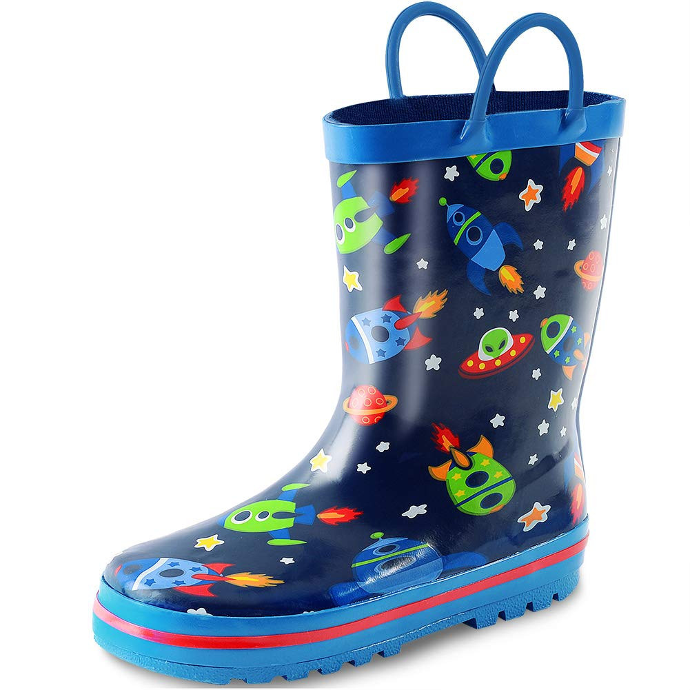 KushyShoo Kids Boy Rain Boots, Waterproof Printed Rubber Rainboots with Easy-On Handles for Toddler/Little Big Kids
