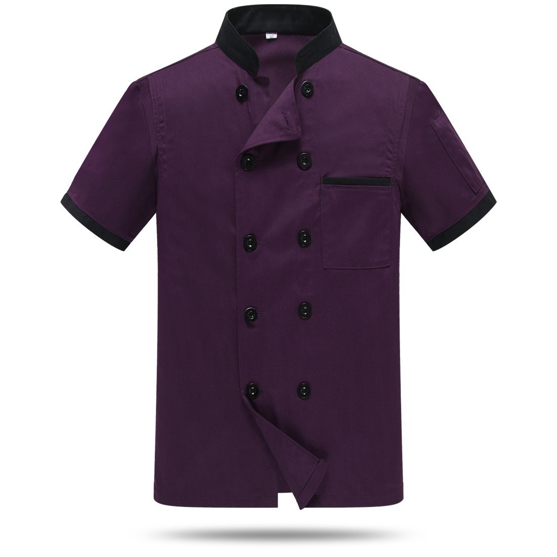 WAIWAIZUI Chef Jackets Waiter Coat Short Sleeves Back and Underarm Mesh Size M (Label:XXL) Purple