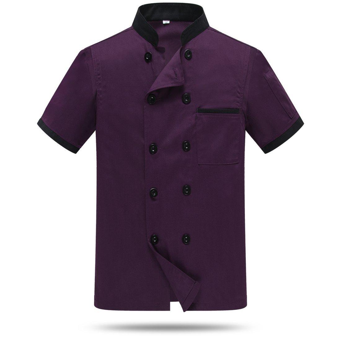 WAIWAIZUI Chef Jackets Waiter Coat Short Sleeves Back and Underarm Mesh Size S (Label:XL) Purple