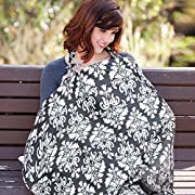 Nursing Cover, UHINOOS Lightweight Breathable 100% Cotton Breastfeeding Cover, Nursing Apron for Breastfeeding - Rigid Neckline, Full Coverage and Adjustable Strap