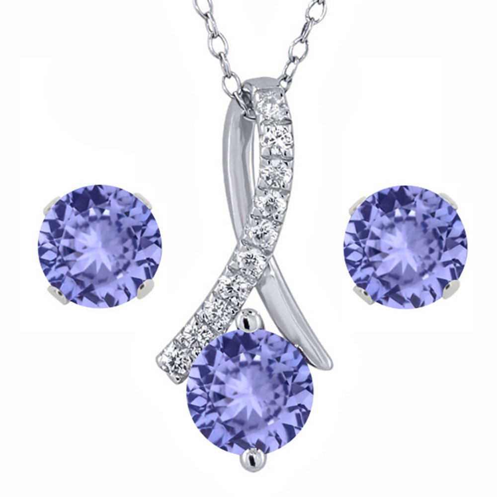 1.97 Ct Round Blue Tanzanite Sterling Silver Pendant and Earrings Set