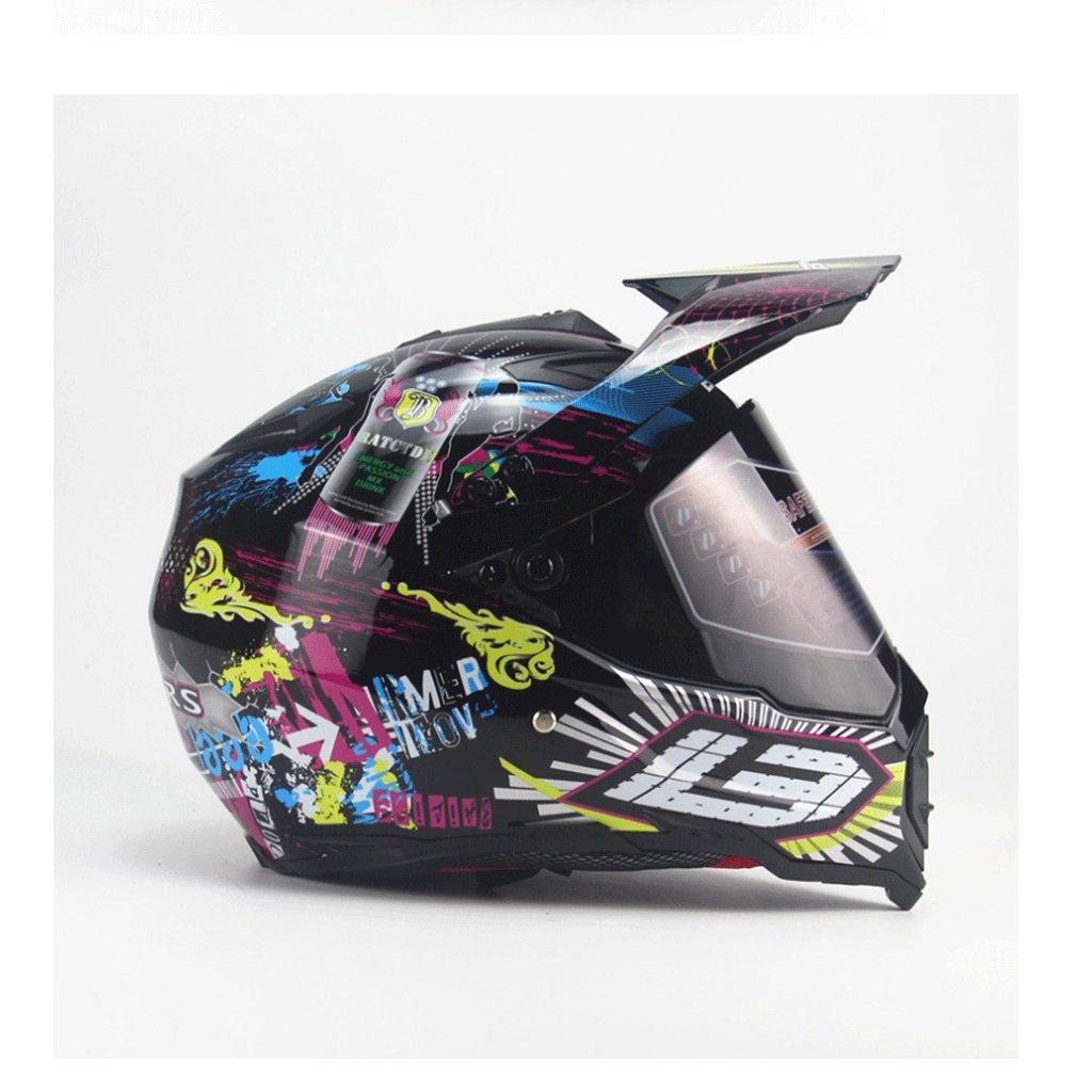 DGF ヘルメットオートバイ落書き夏のオフロードメンズオートバイラリーヘルメットフルカバーフルヘルメットフォーシーズンズハイウェイヘルメット (色 : B, サイズ さいず : M) B07FF4V181 Medium|B B Medium