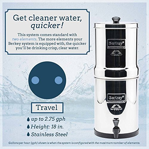Travel Berkey Water Filter with 2 Black Berkey Filters and 2 PF2 Fluoride Filters