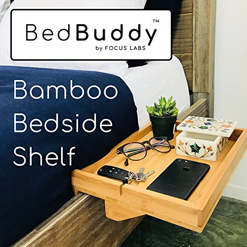BedBuddy - Bamboo Bedside Shelf for Bunk Beds, Headboards, College Dorms, Nightstands, Cup Holder, Reading stand