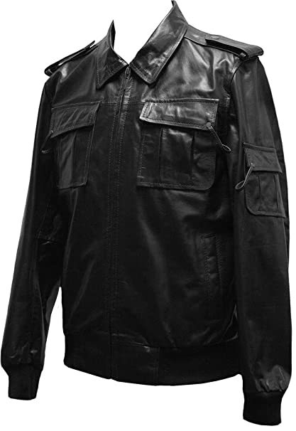 New Men/'s Black Classic Hooded Casual Bomber Style Real Napa Leather Jacket Coat