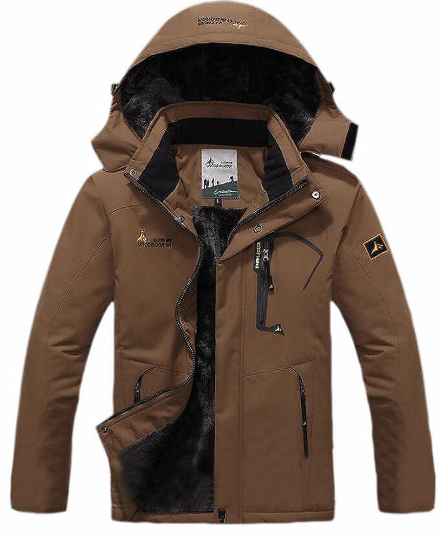 ouxiuli Men's Fleece Lined Ski Mountain Windproof Waterproof Jacket Thicken Coats