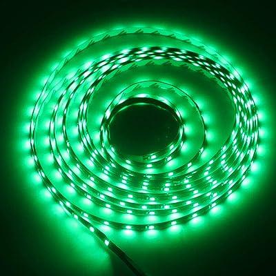 Grandview 16.4ft/5m 300 Units 3528 12V DC Flexible LED Waterproof Strip Lights LED Light Strips Waterproof Party Concert Home Decor Landscape Auto Under Cabinets Lights Festivals-Green: Automotive