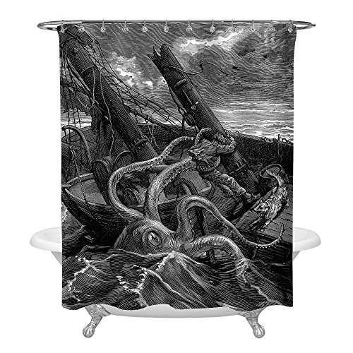 MitoVilla Antique Giant Octopus Shower Decorations, Hand Drawn Sea Monster Kraken Catched Ancient Sailboat Art Deco Shower Curtain for Marine Decor, Waterproof Anti Mold 72 W x 78 L, Black White