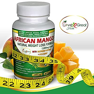 African Mango (IGOB 131) Weight Loss Supplement (1000mg) - Natural Cleanse & Detox Fat Burning Formula - Irvingia Gabonensis, Raspberry Ketones, Acai Berry & Green Tea - Made in the USA - 60 Caplets
