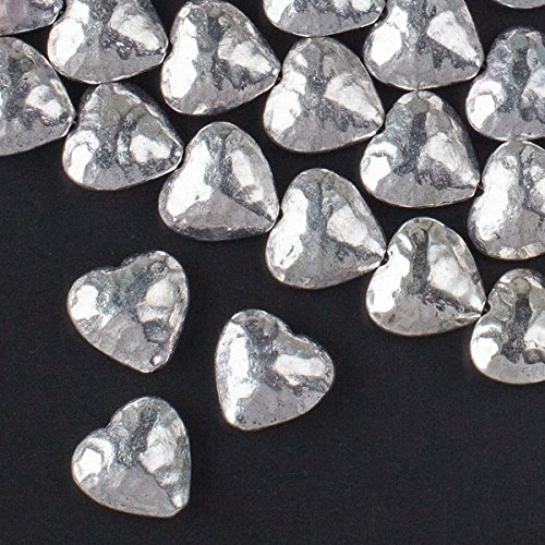 Cherry Blossom Beads Silver Pewter 14mm Hammered Puff Hearts - 8 Inch (14 Mm Hammered Heart)